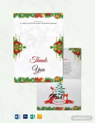 free christmas brochure thank you card template