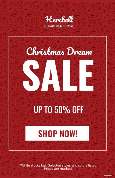 free christmas dreams sale poster template