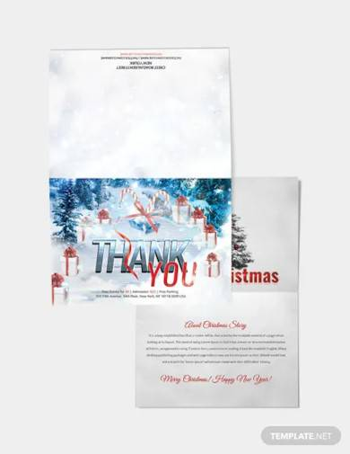 free christmas and new year thank you card template