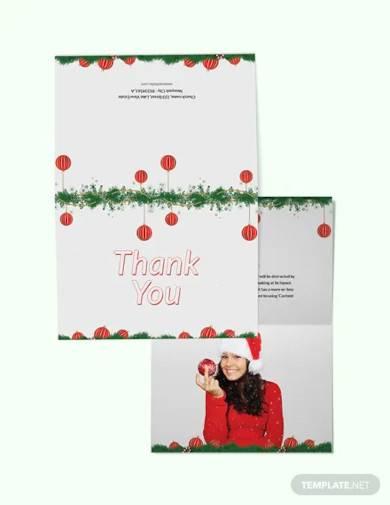 free minimal christmas thank you card template