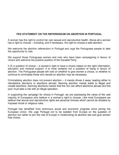 abortion pes statement