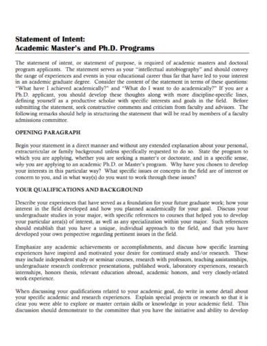 academic masters program statement of intent