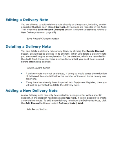 add record new delivery note