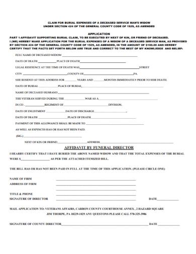 affidavit of claim for funeral expenses