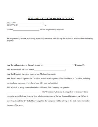 affidavit of decedent funeral expenses