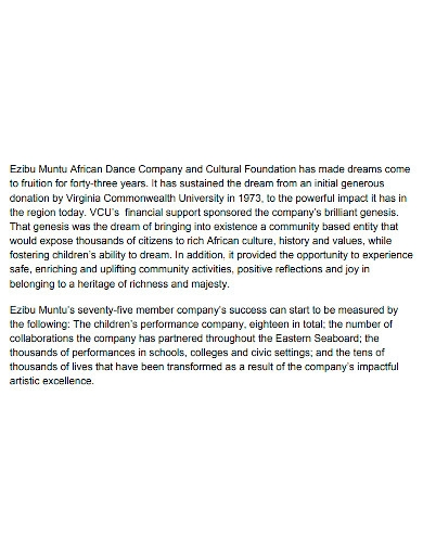 african dance grant proposal