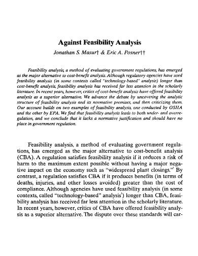 against feasibility analysis