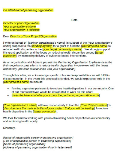 agency grant proposal cover letter sample