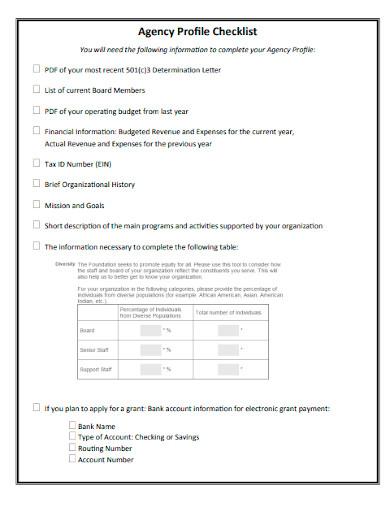 agency profile checklist sample