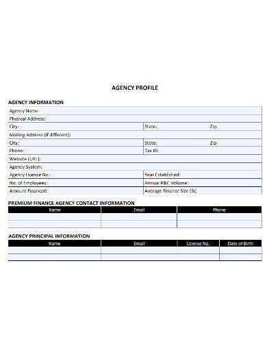 agency profile sample