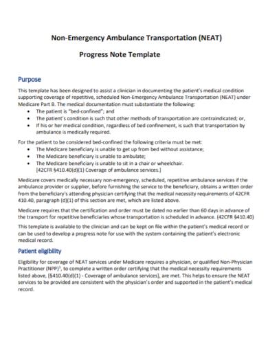 ambulance nursing progress note