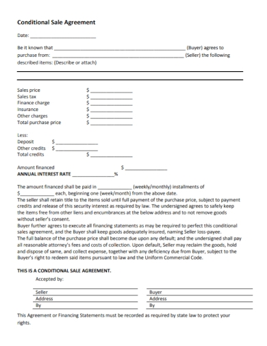 annual conditional sales agreement