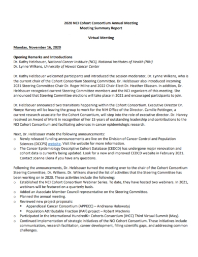 annual meeting summary report