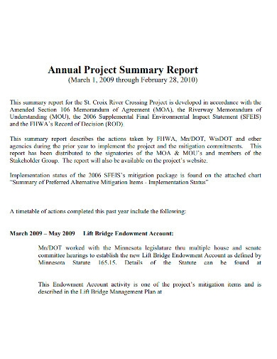 annual project summary report