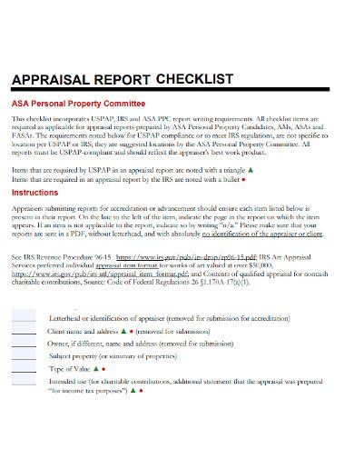 appraisal report checklist