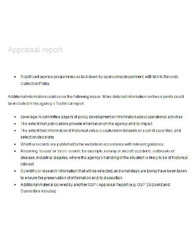 appraisal report sample