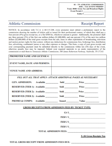 athletic commission report receipt