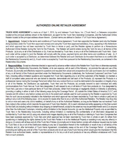 authorized online retailer agreement