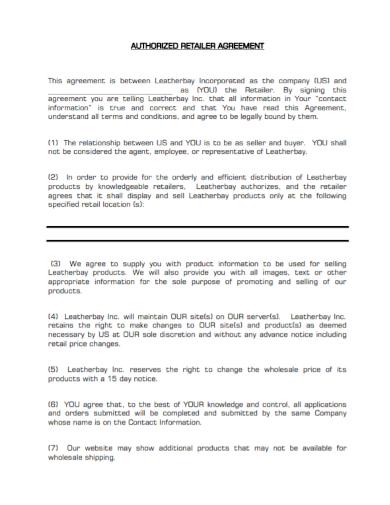 authorized retailer agreement