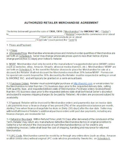 authorized retailer merchandise agreement