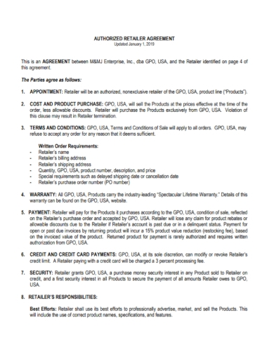 authorized retailer purchase agreement