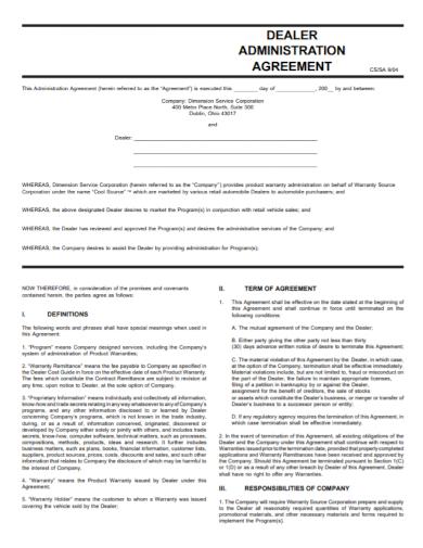 automobile dealer administration agreement
