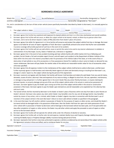 automobile dealer borrowed vehicle agreement