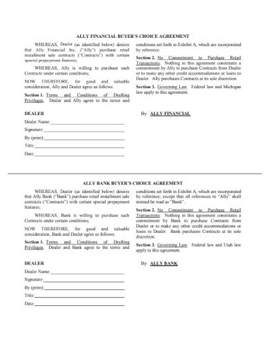 automobile dealer choice agreement