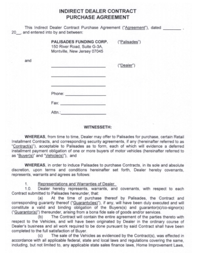 automobile dealer contract purchase agreement