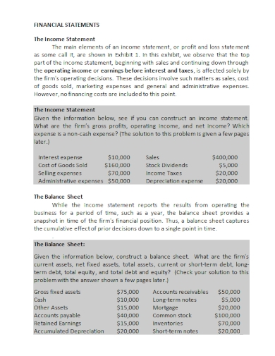 balance sheet and income statements