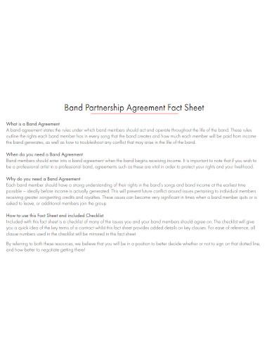 band partnership agreement fact sheet