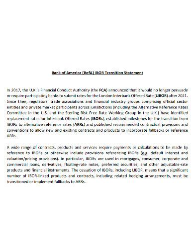 bank transition statement