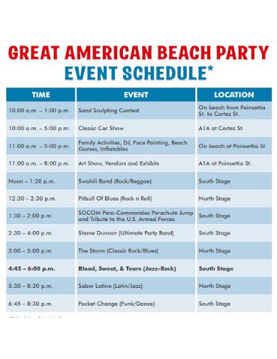 beach party event schedule