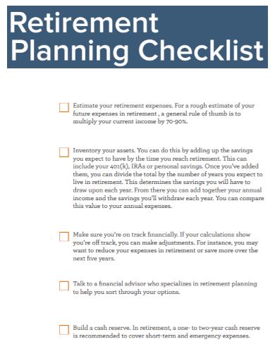 before retirement planning checklist
