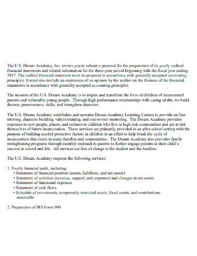 bid audit proposal letter
