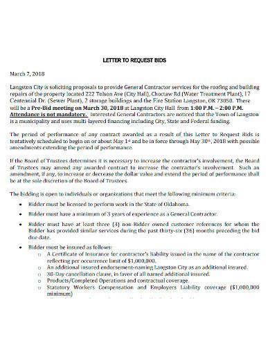 bid proposal letter sample