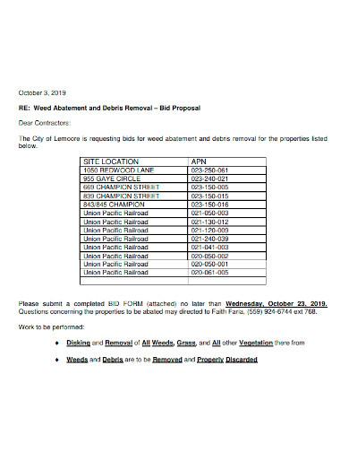 bid request for proposal letter sample