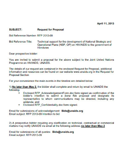 bid request for proposal letter