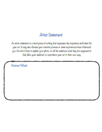 blank short artist statement