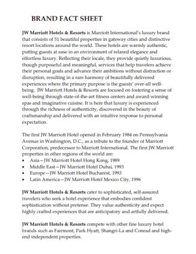 brand hotel fact sheet