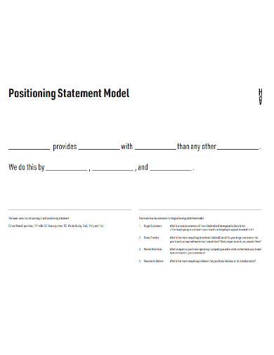 brand positioning statement model