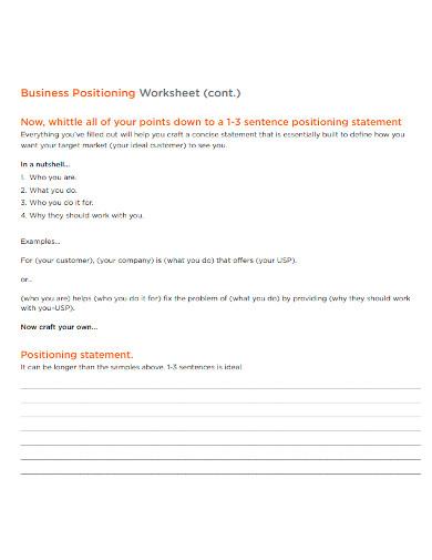 brand positioning statement worksheet sample