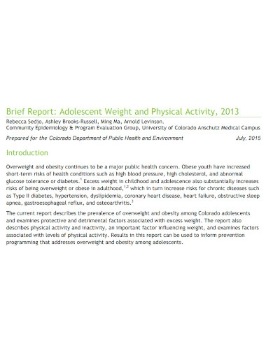 brief report on physical activity