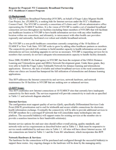 broadband partnership request for proposal