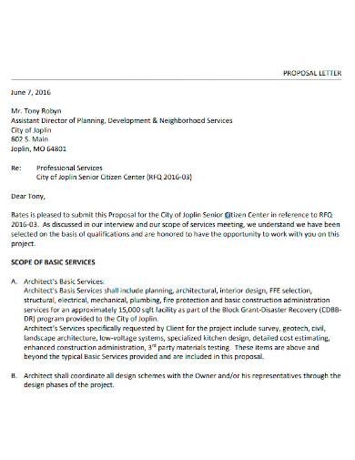 building construction proposal letter