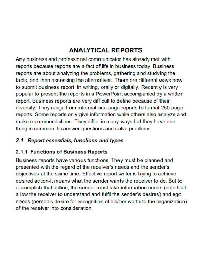 business analytical report