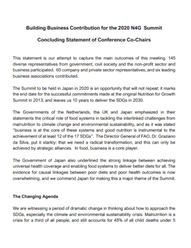 business conference concluding statement