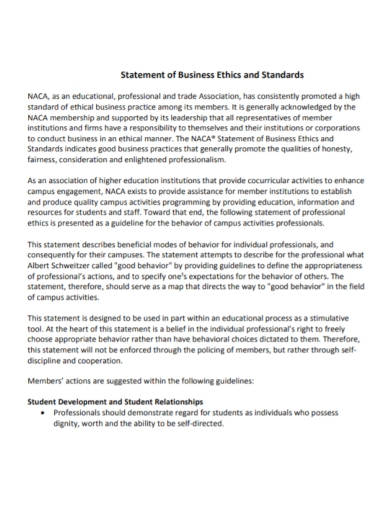 business ethical statement
