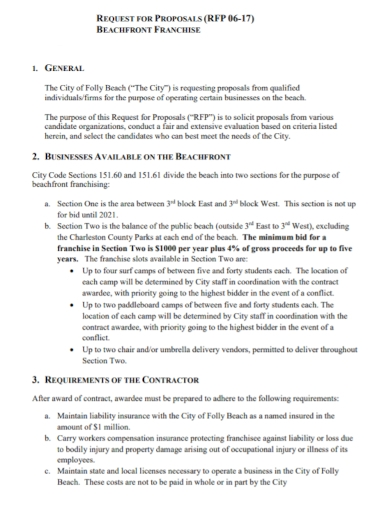 business franchise request for proposal