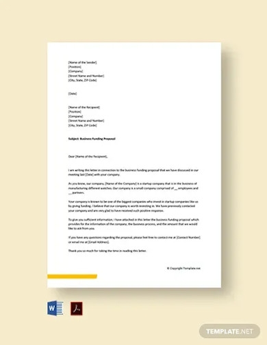 business funding proposal cover letter